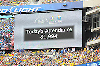 Attendance for the Argentina Brazil game. The Argentina National Team defeated Brazil 4-3 at MetLife Stadium, Saturday July 9 , 2012.