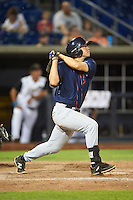 Bowing Green Hot Rods first baseman Kewby Meyer (24) during a game against the Quad Cities River Bandits on July 24, 2016 at Modern Woodmen Park in Davenport, Iowa.  Quad Cities defeated Bowling Green 6-5.  (Mike Janes/Four Seam Images)