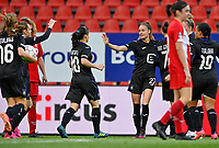players of Anderlecht pictured celebrating after scoring a goal during a female soccer game between Standard Femina de Liege and RSC Anderlecht on the 8th matchday in play off 1 of the 2020 - 2021 season of Belgian Scooore Womens Super League , tuesday 18 th of May 2021  in Angleur , Belgium . PHOTO SPORTPIX.BE | SPP | DAVID CATRY