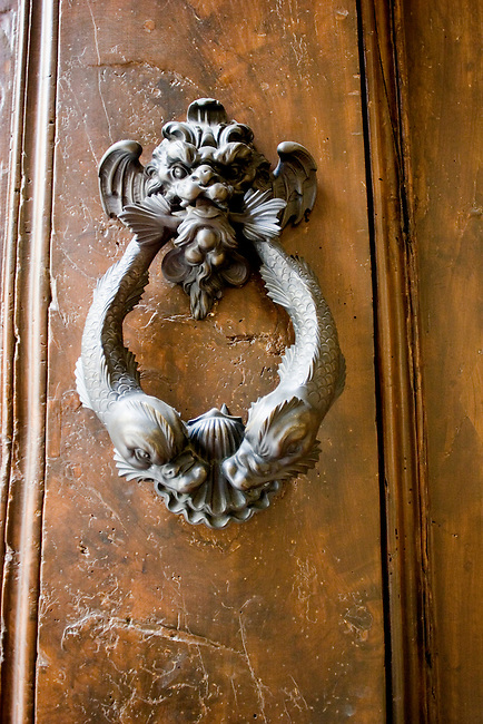 Exterior, Doorknocker, Enoteca Pinchiori Restaurant, Florence, Italy