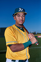 AZL Athletics Gold Iraj Serrano (1) poses for a photo before an Arizona League game against the AZL Rangers on July 15, 2019 at Hohokam Stadium in Mesa, Arizona. The AZL Athletics Gold defeated the AZL Rangers 9-8 in 11 innings. (Zachary Lucy/Four Seam Images)