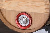 Fermentation in barrel. Oak barrel aging and fermentation cellar. Vinification integrale. Chateau Malartic Lagraviere, Pessac Leognan, Graves, Bordeaux, France