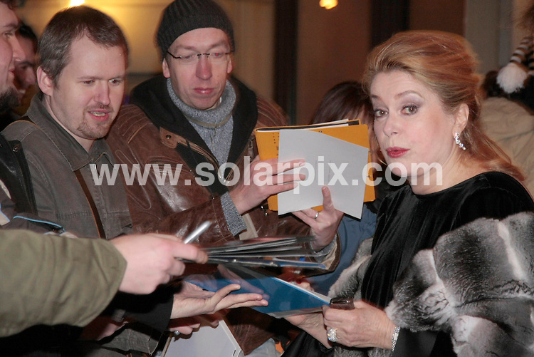**ALL ROUND PICTURES FROM SOLARPIX.COM**.**SYNDICATION RIGHTS FOR UK AND SPAIN ONLY**.French actress Catherine Deneuve leaving her hotel last night for The  Peace Gala 2009 at the Benefit Gala in Berlin...JOB REF: 8438        CPR/Picturedepot       DATE:09.02.09.**MUST CREDIT SOLARPIX.COM OR DOUBLE FEE WILL BE CHARGED**.**ONLINE USAGE FEE  GBP 50.00 PER PICTURE - NOTIFICATION OF USAGE TO PHOTO @ SOLARPIX.COM**