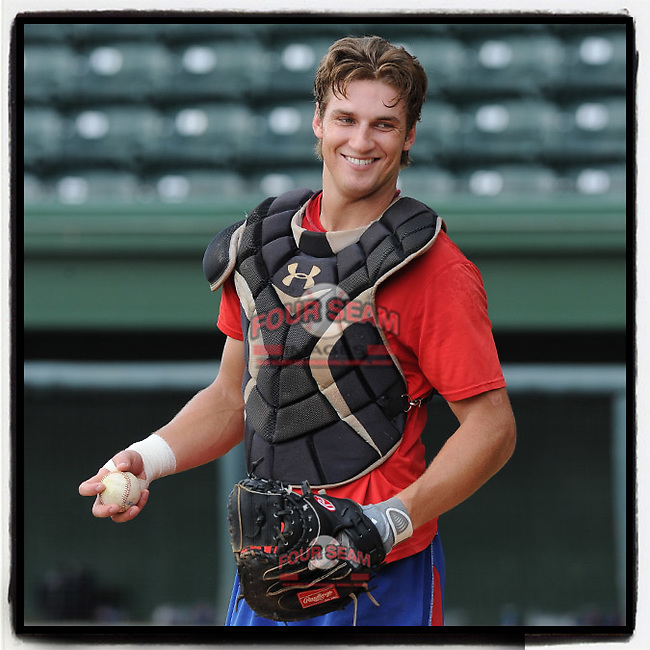 #OTD On This Day, August 6, 2012, Kellin Deglan of the Hickory Crawdads worked out prior to a game against the Greenville Drive at Fluor Field at the West End in Greenville, South Carolina. Deglan was a rare first-round draft pick out of Canada. He has had nine seasons in the Yankees' and Rangers' minor league organizations and played one year in Australia. He was left off the Yankees' 60-man player pool for 2020 and instead was assigned to the Yankees' minor league camp. He could be on the bubble for selection if the Yanks have catcher problems this year. (Tom Priddy/Four Seam Images) #MiLB #OnThisDay #MissingBaseball #nobaseball #stayathome #minorleagues #minorleaguebaseball #Baseball #SallyLeague #AloneTogether