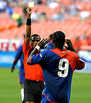 08 July 09: Haiti's Ricky Charles pleads no to be yellow carded during their match with Grenada at the CONCACAF Gold Cup at RFK Stadium in Washington, DC.