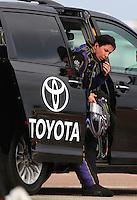 Apr 26, 2014; Baytown, TX, USA; NHRA funny car driver Alexis DeJoria during qualifying for the Spring Nationals at Royal Purple Raceway. Mandatory Credit: Mark J. Rebilas-