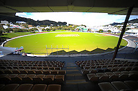 The view from the RA Vance Stand as the new grass takes seed at the Hawkins Basin Reserve, Wellington, New Zealand on Tuesday, 2 October 2012. Photo: Dave Lintott / lintottphoto.co.nz