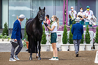 AUS-Simone Pearce presents Destano during the 1st Horse Inspection for the Dressage at the Equestrian Park. Tokyo 2020 Olympic Games. Friday 23 July 2021. Copyright Photo: Libby Law Photography