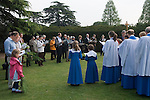Palm Sunday Cross open air service. St Mary the Virgin, Church of England, Merton, South Wimbledon, London UK.