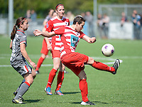 20140419 - ANTWERPEN , BELGIUM : Antwerp Charlotte Andries (r) pictured with Standard's Vanity Lewerissa (left)  during the soccer match between the women teams of RAFC Antwerp Ladies  and Standard Femina  , on the 24th matchday of the BeNeleague competition on Saturday 19 April 2014 in Deurne .  PHOTO DAVID CATRY