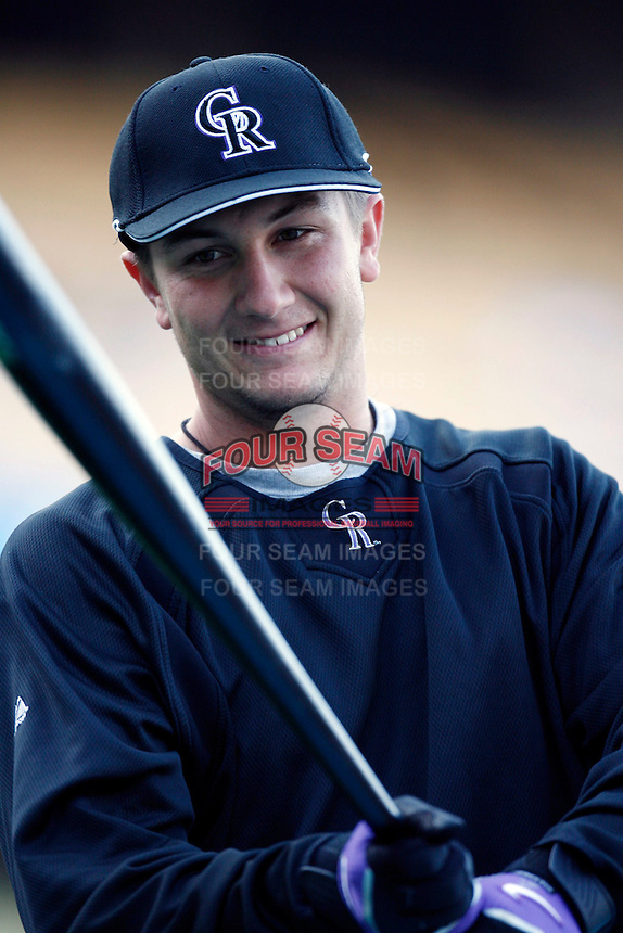 Troy Tulowitzki of the Colorado Rockies during batting practice before a game against the Los Angeles Dodgers in a 2007 MLB season game at Dodger Stadium in Los Angeles, California. (Larry Goren/Four Seam Images)