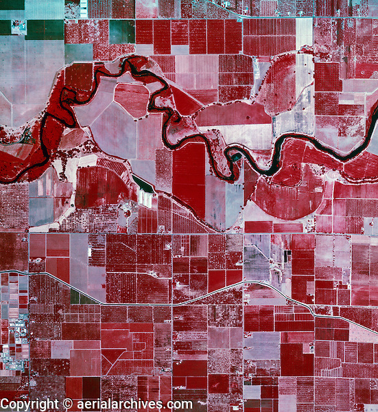 color infrared aerial photograph near Modesto, Stanislaus County, California