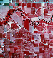 color infrared aerial photograph near Modesto, Stanislaus County, California