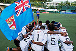 Fiji vs France during the Day 2 of the IRB Women's Sevens Qualifier 2014 at the Skek Kip Mei Stadium on September 13, 2014 in Hong Kong, China. Photo by Aitor Alcalde / Power Sport Images