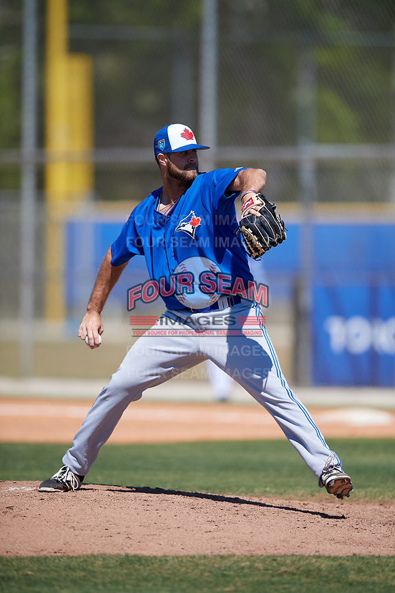Toronto Blue Jays pitcher Turner Larkins (59) during a Minor League Spring Training Intrasquad game on March 14, 2018 at Englebert Complex in Dunedin, Florida.  (Mike Janes/Four Seam Images)