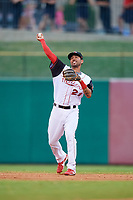 Arkansas Travelers shortstop Joey Wong (21) throws to first base during a game against the Frisco RoughRiders on May 26, 2017 at Dickey-Stephens Park in Little Rock, Arkansas.  Arkansas defeated Frisco 4-2.  (Mike Janes/Four Seam Images)