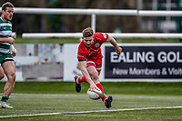 Auguy Slowik of Jersey Reds intercepts to break away and score his team's 2nd try during the Championship Cup QF match between Ealing Trailfinders and Jersey Reds at Castle Bar, West Ealing, England  on 22 February 2020. Photo by David Horn.