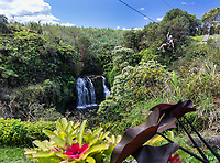 A visitor ziplines past a waterfall, Big Island of Hawai'i