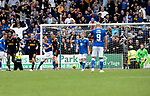 St Johnstone v Rangers…11.09.21  McDiarmid Park    SPFL<br />Liam Craig and Kemar Roofe come to blows after Roofe equalised from the penalty spot<br />Picture by Graeme Hart.<br />Copyright Perthshire Picture Agency<br />Tel: 01738 623350  Mobile: 07990 594431