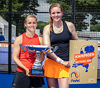 Rosmalen, Netherlands, 15 June, 2019, Tennis, Libema Open, NK Padel, Final Padel womans double: Milou Ettekhoven (NED) and Marcella Koek (NED) (R) winners with trophy<br /> Photo: Henk Koster/tennisimages.com