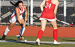 CHESHIRE CT. - 09 November 2020-110920SV08-#6 Taylor Warburton of Cheshire High brings the ball up field against Branford High during the semifinals of SCC field hockey tournament in Cheshire Monday.<br /> Steven Valenti Republican-American