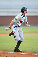 Drew Waters (12) of the Danville Braves hustles down the first base line against the Burlington Royals at Burlington Athletic Stadium on August 15, 2017 in Burlington, North Carolina.  The Royals defeated the Braves 6-2.  (Brian Westerholt/Four Seam Images)