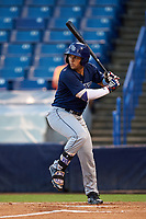 Carlos Cortes (2) of Oviedo High School in Oviedo, Florida playing for the Tampa Bay Rays scout team during the East Coast Pro Showcase on July 27, 2015 at George M. Steinbrenner Field in Tampa, Florida.  (Mike Janes/Four Seam Images)