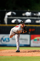 Rocket City Trash Pandas pitcher Kyle Tyler (21) delivers a pitch to the plate against the Tennessee Smokies at Smokies Stadium on July 2, 2021, in Kodak, Tennessee. (Danny Parker/Four Seam Images)