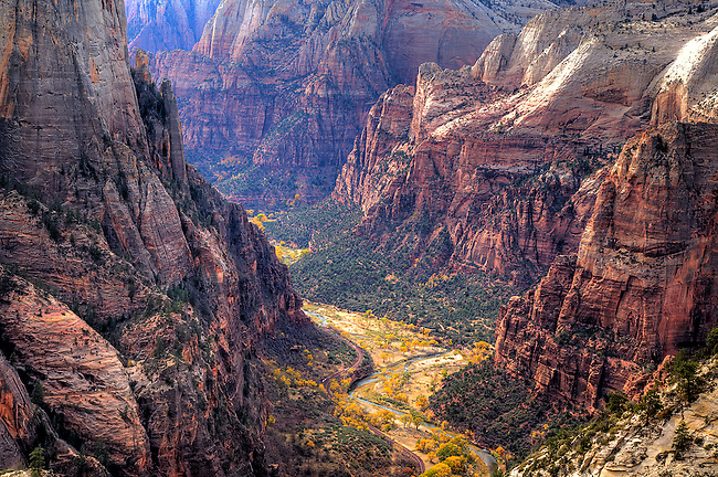 ZION CANYON DURING AUTUMN FROM OBSERVATION POINT