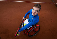 Amstelveen, Netherlands, 8-12-2020, NTC, National Tennis Center, Photoshoot, KNLTB new look, wheelchair tennis player Gino Hamel (NED)