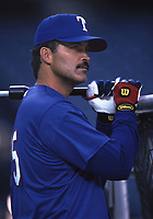 Rafael Palmeiro of the Texas Rangers during a 2001 season MLB game at Angel Stadium in Anaheim, California. (Larry Goren/Four Seam Images)