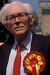 "Michael Foot former Labour Prime minister General Election meeting Birmingham 1982 slogan ""GET BRUM BACK TO WORK"" 1980s"