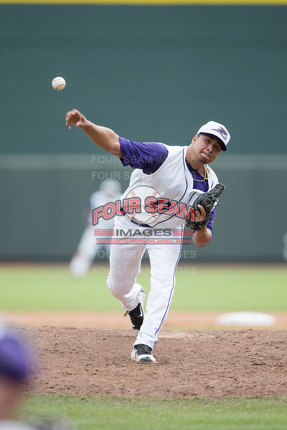 Winston-Salem Dash relief pitcher Manny Martinez (23) in action against the Wilmington Blue Rocks at BB&T Ballpark on June 5, 2016 in Winston-Salem, North Carolina.  The Blue Rocks defeated the Dash 6-2 in the completion of the game suspended on June 4, 2016.   (Brian Westerholt/Four Seam Images)