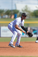 Peoria Javelinas outfielder third baseman Hudson Potts (13), of the San Diego Padres organization, during an Arizona Fall League game against the Glendale Desert Dogs at Peoria Sports Complex on October 22, 2018 in Peoria, Arizona. Glendale defeated Peoria 6-2. (Zachary Lucy/Four Seam Images)