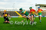 Maurice O'Connor, Kerry has a shot at goal blocked during the Joe McDonagh hurling cup fourth round match between Kerry and Carlow at Austin Stack Park on Saturday.