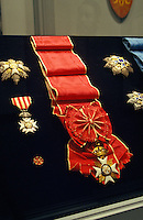 A display of medals in Iolani Palace, which is a 4-story Italian Renaissance palace that was built in 1882 and is in downtown Honolulu