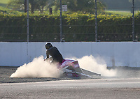 Nov 11, 2017; Pomona, CA, USA; NHRA pro stock motorcycle rider Jerry Savoie goes into the sand trap during qualifying for the Auto Club Finals at Auto Club Raceway at Pomona. Mandatory Credit: Mark J. Rebilas-USA TODAY Sports