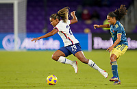 ORLANDO, FL - JANUARY 18: Catarina Macario #29 of the United States moves with the ball during a game between Colombia and USWNT at Exploria Stadium on January 18, 2021 in Orlando, Florida.