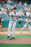 New Orleans Baby Cakes starting pitcher Zac Gallen (4) delivers a pitch to the plate against the Salt Lake Bees  at Smith's Ballpark on June 8, 2018 in Salt Lake City, Utah. Salt Lake defeated New Orleans 4-0.  (Stephen Smith/Four Seam Images)