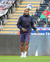 31st October 2020; Liberty Stadium, Swansea, Glamorgan, Wales; English Football League Championship Football, Swansea City versus Blackburn Rovers; Andre Ayew of Swansea City during the warm up