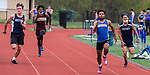 OXFORD, CT 050421JS12—Seymour's Joshua Lanzieri, second from right, finished first in the 100 meter dash during their NVL track meet with Oxford and Sacred Heart Tuesday at Oxford High School. <br /> Jim Shannon Republican American