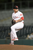 Scottsdale Scorpions pitcher Ryan O'Sullivan (46) during an Arizona Fall League game against the Surprise Saguaros on October 15, 2014 at Scottsdale Stadium in Scottsdale, Arizona.  Surprise defeated Scottsdale 13-11.  (Mike Janes/Four Seam Images)