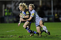 Scott Hamilton of Leicester Tigers (right) tackles Tom Biggs of Bath Rugby during the LV= Cup semi final match between Bath Rugby and Leicester Tigers at The Recreation Ground, Bath (Photo by Rob Munro, Fotosports International)