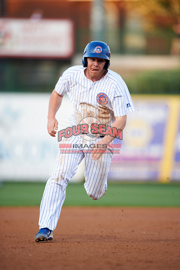 South Bend Cubs third baseman Jesse Hodges (19) running the bases during a game against the Cedar Rapids Kernels on June 5, 2015 at Four Winds Field in South Bend, Indiana.  South Bend defeated Cedar Rapids 9-4.  (Mike Janes/Four Seam Images)