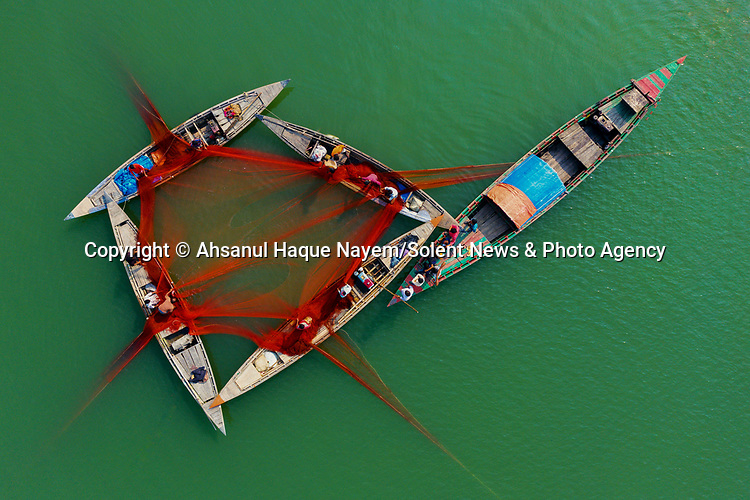 Fishermen draw their boats together so they can help each other lower a large net into the water.  This traditional technique, in which they join forces to submerge the bright red net and then pull it up by its corners, has been used for nearly a century.<br /> <br /> Amateur photographer Ahsanul Haque Nayem watched the men using the 40ft wide net to catch mainly catfish on the Jamuna River in Bogra, Bangladesh.  SEE OUR COPY FOR DETAILS.<br /> <br /> Please byline: Ahsanul Haque Nayem/Solent News<br /> <br /> © Ahsanul Haque Nayem/Solent News & Photo Agency<br /> UK +44 (0) 2380 458800