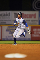 Brooklyn Cyclones shortstop Alfredo Reyes (8) running the bases during a game against the Tri-City ValleyCats on September 1, 2015 at Joseph L. Bruno Stadium in Troy, New York.  Tri-City defeated Brooklyn 5-4.  (Mike Janes/Four Seam Images)
