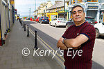 Namir Karim standing outside his restaurant, wheres it proposed to pedestrianise the main street in Ballybunion.