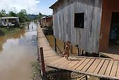 Altamira, Brazil. Frontier town on the Xingu river. Poor district with stilt houses.