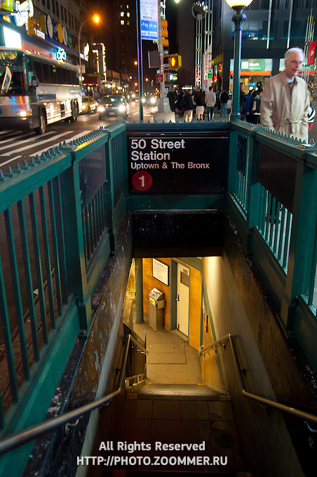 Stairs To 50 Street Subway Station In Manhattan, New York City, USA