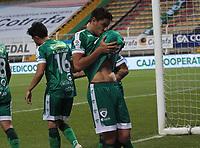 BOGOTÁ- COLOMBIA, 27-02-2021:Pablo Lima de La Equidad celebra después de anotar  el gol de su equipo durante partido por la fecha 10 entre La Equidad y Boyacá Chicó  como parte de la Liga BetPlay DIMAYOR 2021 jugado en el estadio  Metropolitano de Techo de la ciudad de Bogotá / Pablo Lima of La Equidad celebrates after scoring the goal of his team during match for the date 10  between La Equidad and Boyaca Chico BetPlay DIMAYOR League I 2021 played at  Metropolitano de Techo  stadium in Bogota city. Photo: VizzorImage / Felipe Caicedo / Staff
